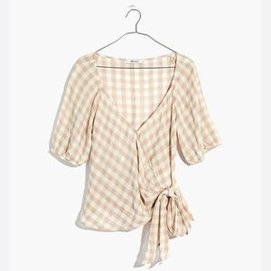Madewell Sweetheart Wrap Top Gingham Check